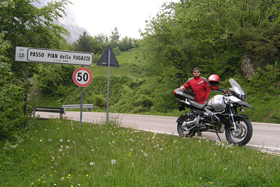 June 08, 2006 - Passo Pian delle Fugazze, Italy.  This road tees into the SS46 immediately behind me where a restaurant is located. The SP219 that I am on heads down to Camposilvano before winding its way back up to the SS46 just east of Raossi. A road definitely worth taking.  GPS N45° 45.491'  E011° 10.235'