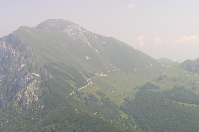 June 26, 2008 - Monte Baldo, Italy.<br /> <br /> Certainly a different view of the road I've motorcycled many times in the past few years. I'm looking down upon the SP3 which along with the SP8 heads from Mori to Caprino Veronese and then down to the town of Garda on Lago di Garda. Halfway up and to the right is the Bocca di Navene where motorcyclists and hikers stop at the restaurant.<br /> <br /> GPS<br /> N45° 46.878' E010° 51.732'