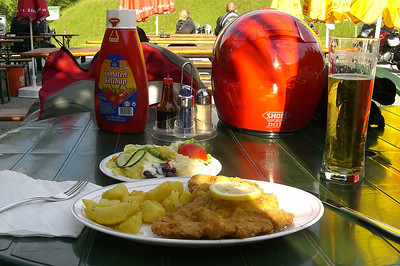 June 16, 2008 - Kalte Kuchl Alpengasthof, Rohr im Gebirge, Austria.  After a long day on the road there is nothing like a cold beer and Wiener Schnitzel with potatoes and salad. Dinner was a very reasonable €7.10 and another €2.80 for a half liter of beer.