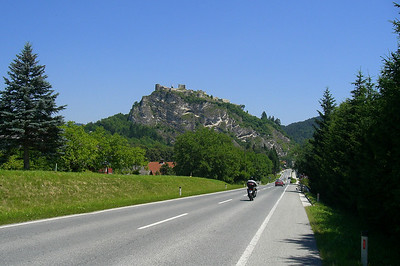 June 22, 2008 - Burgruine Griffen, Griffen, Austria.  Taken from the B70 just SW of the town of Griffen. The Burg (castle) Griffen lies directly above the town of Griffen.  GPS N46° 41.960' E014° 43.266'