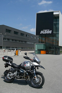 June 05, 2009 - KTM Factory, Mattighofen, Austria.  After 15 years in a row of visiting Salzburg, I finally took the short drive north to Mattighofen to visit the KTM factory grounds.  KTM builds excellent motorcycles using choice components; unfortunately none of them are what I consider to be comfortable enough for long distance touring.