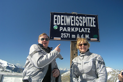 "June 05, 2010 - Grossglockner Hochalpenstrasse, Austria.  ""We're here"". Two big smiles for the usual photo-op at the Edelweiss Spitze sign (2751 m asl)."