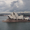 The Opera House from the bridge in a light rain.