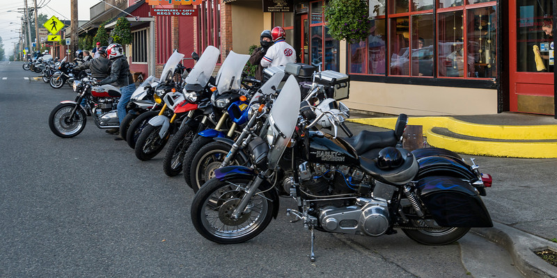 Motorcycles in front of the Hardware Store.