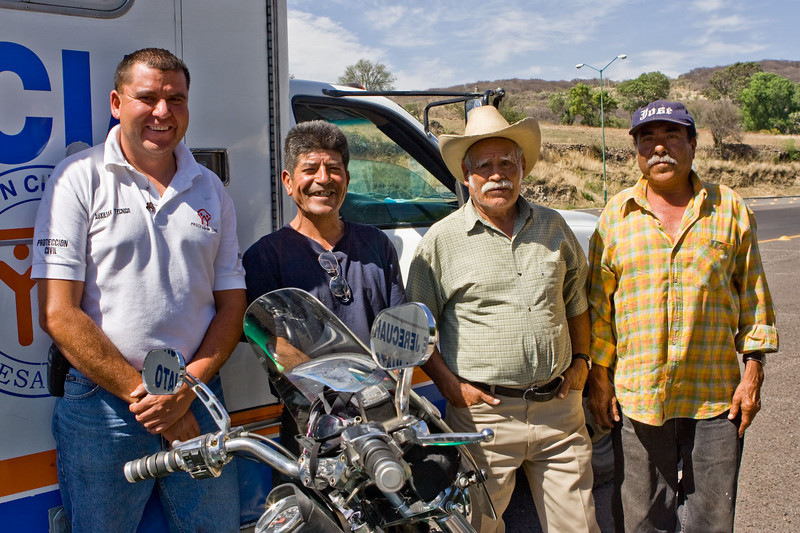 My crew. L to R, Jose the ambulance guy, Chemin, the honey dealer, Jose with the pickup truck