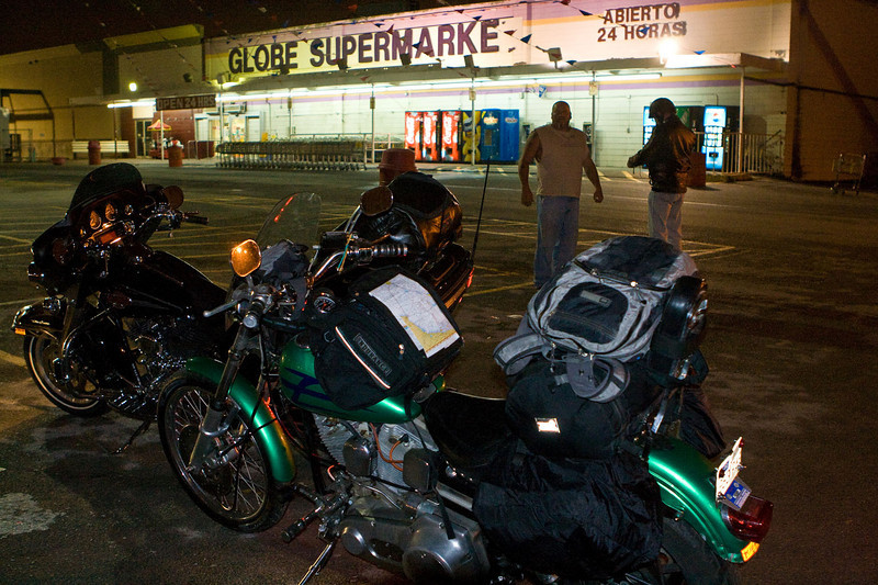 The Green Hornet (1985 Harley Low Rider) and the 2007 Ultra Glide, unloaded in McAllen, Texas, ready to roll south.