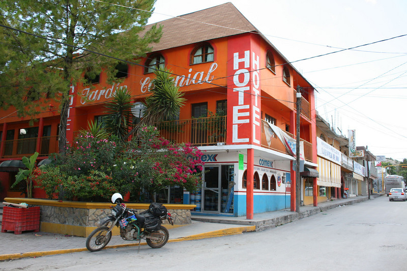 My '93 KLX in front of Hotel Jardin Colonial, Galeana, NL
