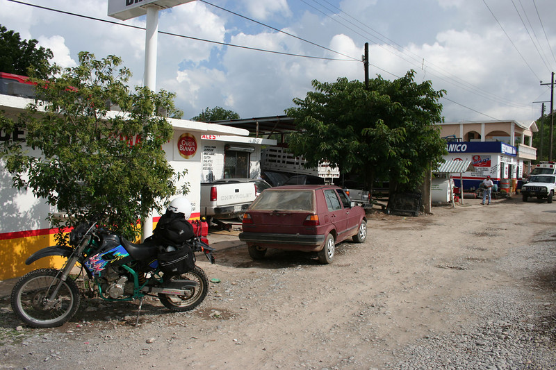 "The Aramberri mechanic shop, gas station and parts store where I spent 5 hrs of my 1st day, changing KLX spark plug (ugh) and ""fixing"" crimpted fuel line.  The lady at the refracioneria (parts store) fed me lunch, a sweet touch."