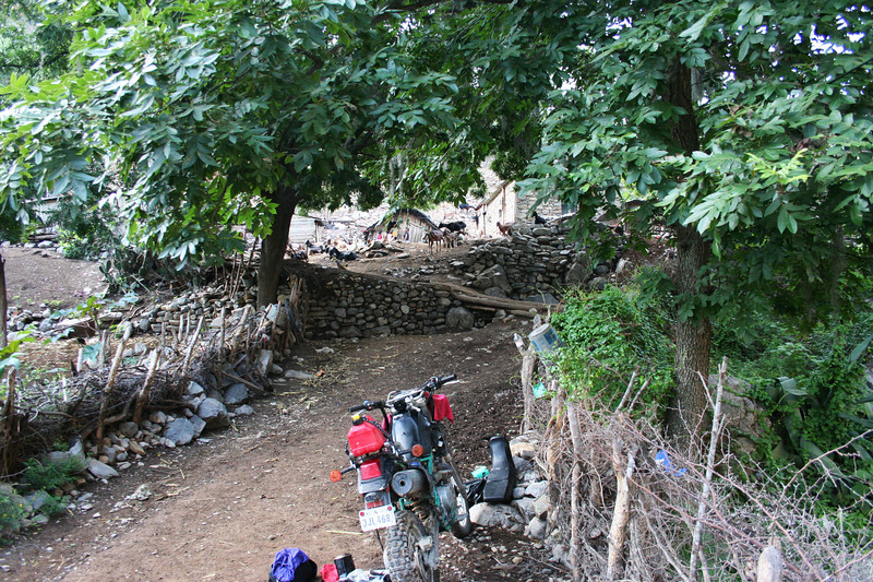 The goat ranch at Reforma, between Aramberri and Caballada, where I spent the night after my bike got stuck in the river mud, died and subsequently refused to re-start.  Fearful of flash flood I unloaded the bike and physically pushed it thru the stream, then clamped a leaky gas line with vise grips and poking around on the otherside of the river I discovered these houses.  The men of Reforma insisted on pushing the bike up to the houses, I could barely keep up in my MX boots.  Next morning, here, I finished repair of fuel line, got a push start and that was the last of any starting problems.  [p.s. until three months later, that is.]