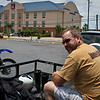 Rich patiently waits in hot sun as I organize my stuff. Motel 6 back lot, McAllen, Texas.
