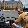 Rich patiently waits in hot sun as I organize my stuff. Motel 6 back lot, McAllen, Texas.