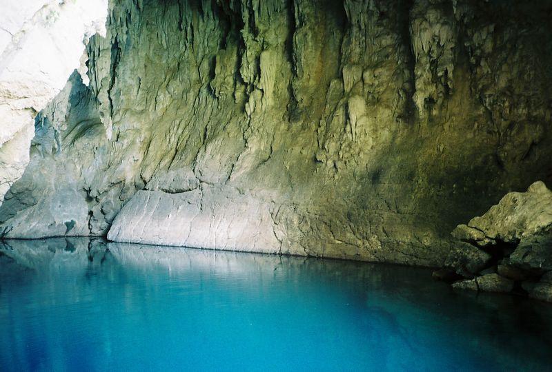 Cueva de Agua, near Tamul falls, stalagtites and swimming pool.