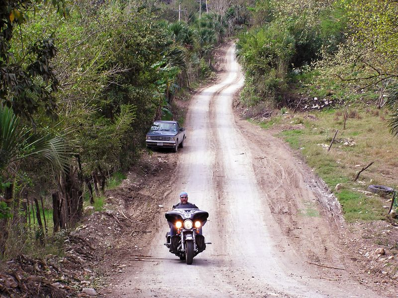 The intrepid explorer, always seeking those dirt roads.  Road to Tanchachin and the Tamul falls
