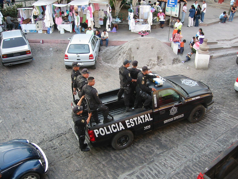 The State police, these guys wear black<br /> Valle de Bravo, Mexico