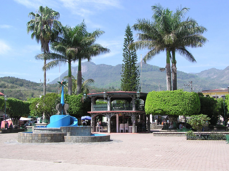 Xililtla town square, with a nod to Edward James