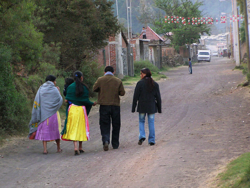 Modern and traditional dress, Angahuen, near Uruapan