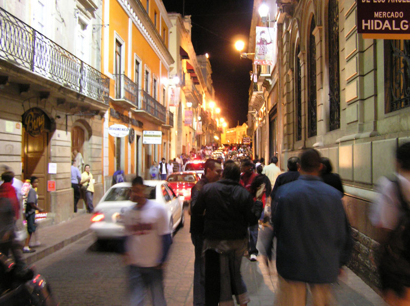 Friday night street scene, Guanajuato town in the state of Guanajuato