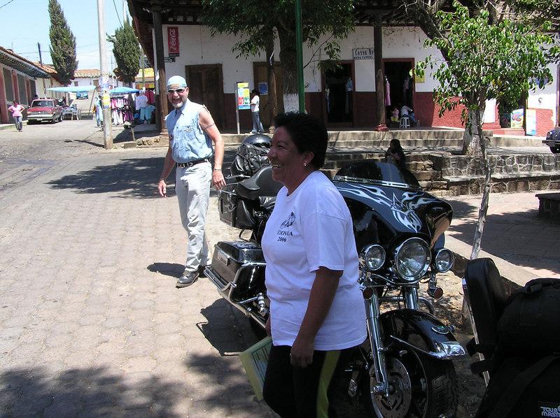 People always wanted their picture taken with Clayton's bike<br /> Erongaricuaro (Eronga), on the lake