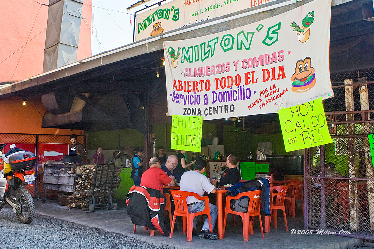 A favorite eatery in Montemorelos.<br /> Day 1. First we have to get to Galeana. Richard, Dirt Bike Dave, and I had trailered our bikes to McAllen the night before, done our paper work at about 11 pm, and slept at the Motel 6 in McAllen. The next Day (I'll call that Day 1) we left McAllen at 9 and arrived Rayones about 4pm. On the way to Galeana, I couldn't help but to guide my group to a little joint I knew in Montemorelos for lunch.