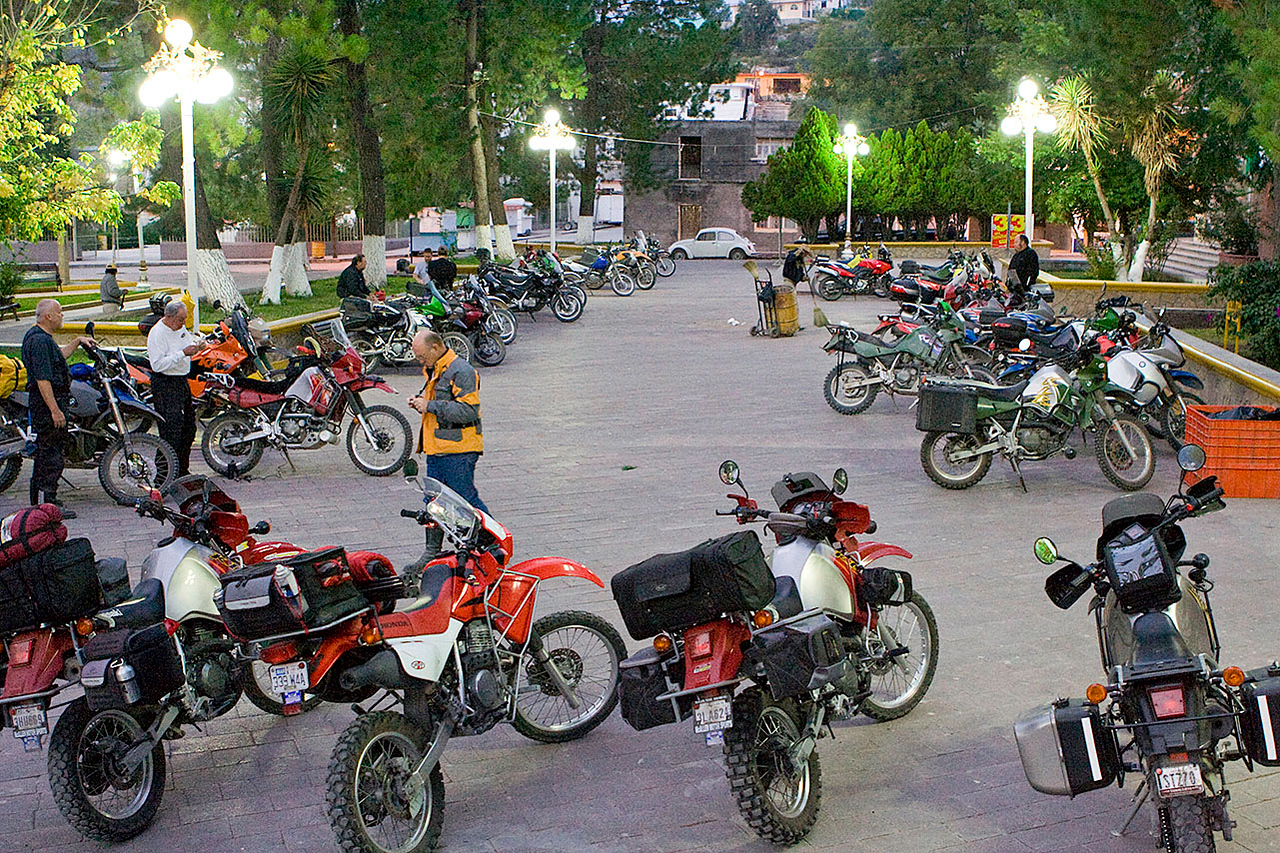 We took over a portion of the plaza in Galeana. Final count: some 50 bikes.