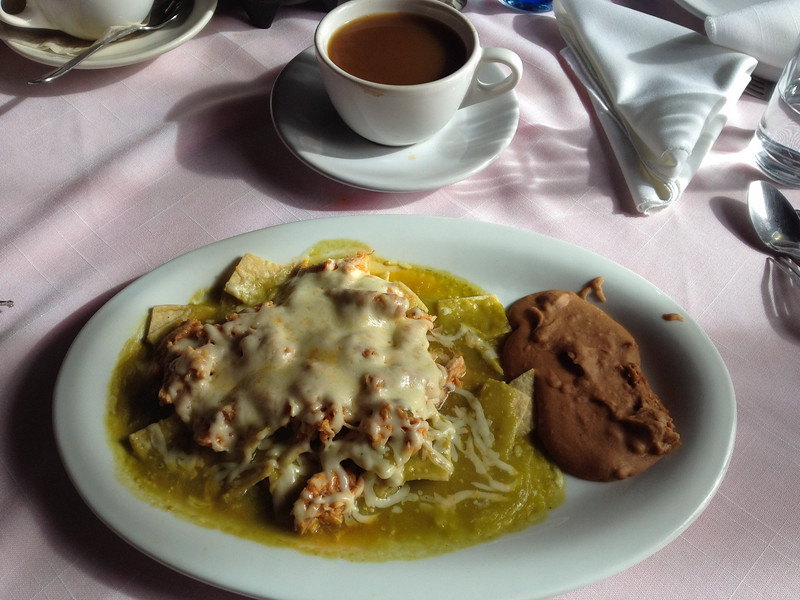 Chilaquiles con pollo. Now that's a breakfast.