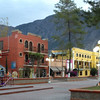 The plaza in downtown Galeana with it's two hotels. Magdelena in red to the left, and The Jardin in newly painted yellow to the right.