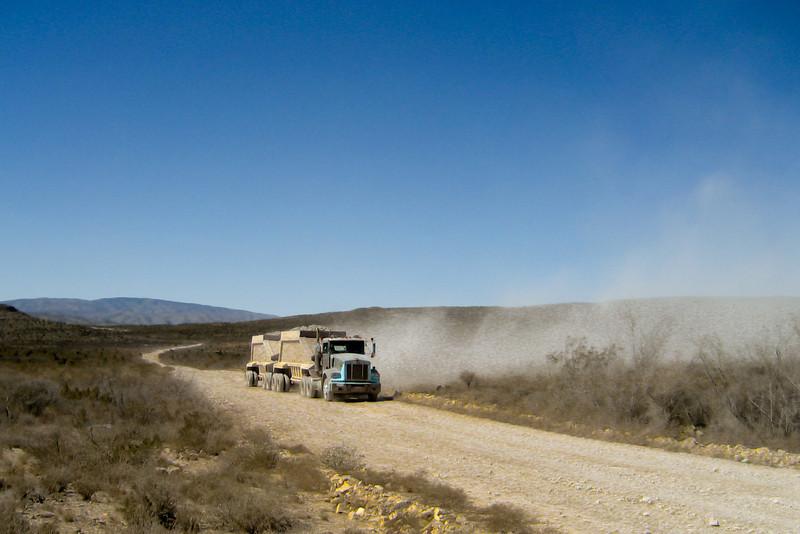 Ore truck from the Chili Verde mine. La Linda - Morelos - Melon road.