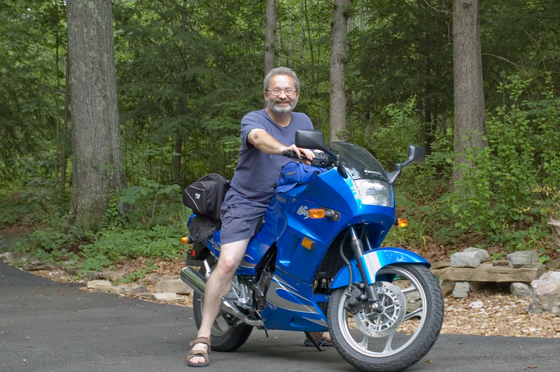 Rick on my Ninja 250.  Don't worry, he always wears his gear when he rides!