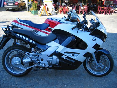 A nice spanky new K1200RS in dark blue and white.