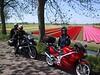 The first tulipfields in sight in the neighbourhood of Purmerend, Ronald and Monique riding my GS, me and Angelique on his VFR750.