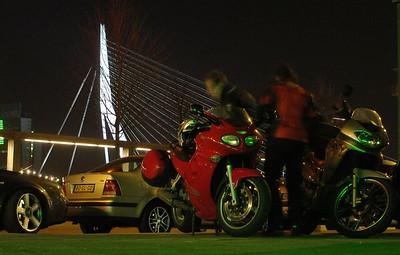 Erasmusbrug wakend over onze fietsen