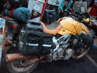 A curious V-strom, completely converted to ride from Paris to Dakar, which it obviously did. Different suspension, different brakes, wheels, tires, rear frame, saddle... well everything except main frame engine and front cowling I guess...