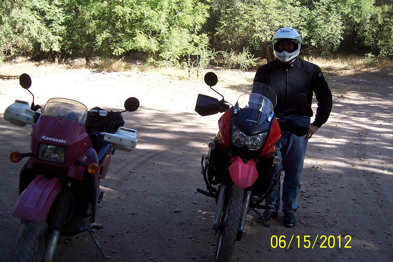 Jerry and I met early in the morning for a ride up Mt Lemmon to escape the heat of June in Tucson. Here we are at Peppersauce Canyon. I have the old style KLR and Jerry rides the new model KLR.