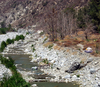 Gold miner's camp in the San Gabriel River.
