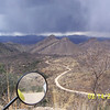 I stopped to take a picture of the valley as I started up the switchbacks. There was rain to the west.