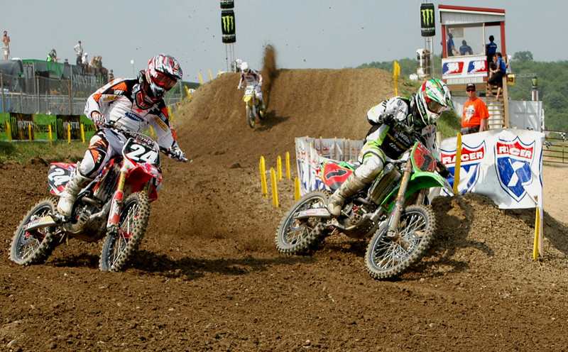 Josh Grant held second place early in Moto 2 until Villopoto made this pass stick...