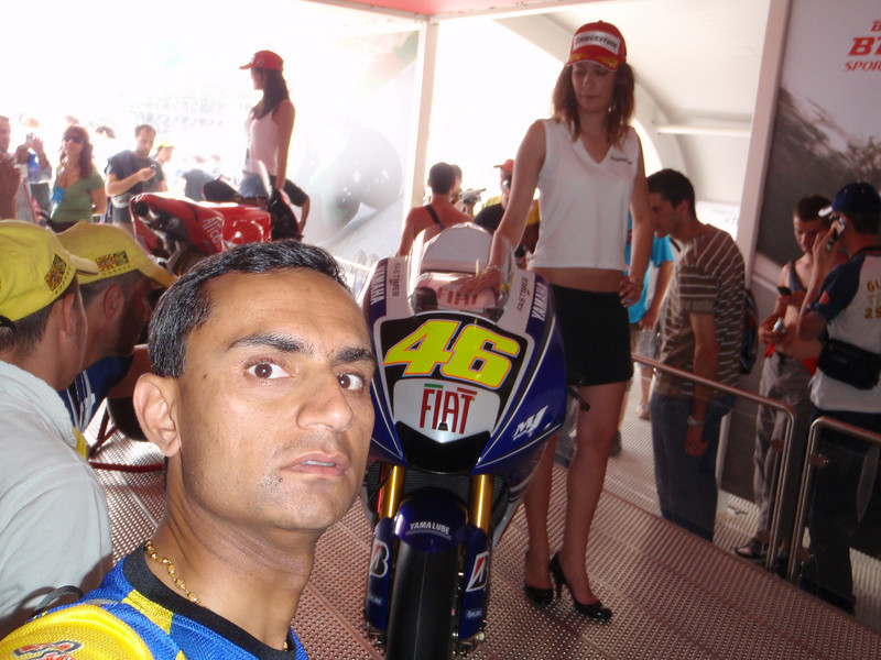 With Rossi's M1 at the Bridgestone stand.