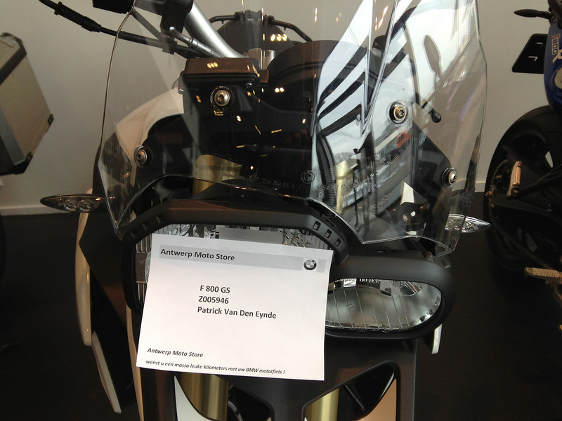 BMW F800GS model 2013. Bij Antwerp Moto Store.