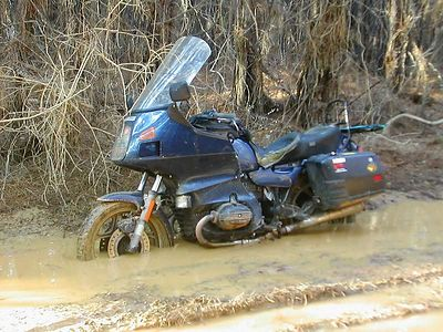 1988 BMW R100RT in a little rut in Edgefield county SC. Bike was not stuck, I stopped, took the pic, got back on and rode out.