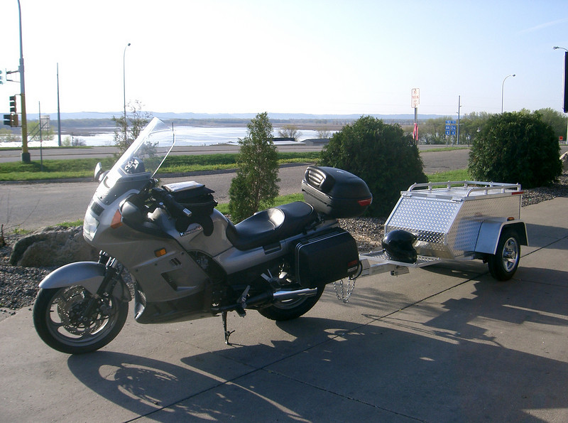 This is my 2002 Concours touring vessel. I use this rig to travel to the many rallys and swap meets I attend. I fabricated my own trailor hitch to tow my trailor full of motorcycle accessories to sell.