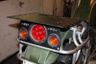 Rear rack with LED lights. Powercoat wrinkle finish.
