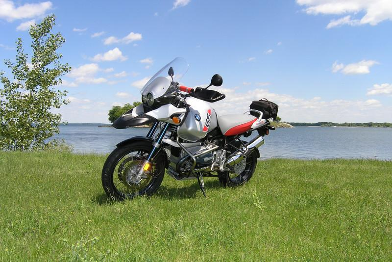 2003 BMW R1150 GS Adventure along the St. Lawrence River, Ontario, Canada.