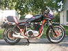 My 1980 Yamaha triple cafe bike. Note the custom stainless steel exhaust.
