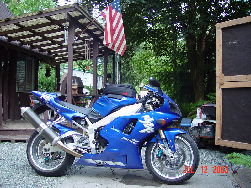 This is my 1998 Yamaha YZF-R1.  I was one of the first folks in my area to get one of these screamers, I honestly think the Blue 98 R1's, are the most beautiful Sport Bike ever made.  This bike even after all these years still scares me when I ride it, maybe that's why it's still in one piece and I am still alive.
