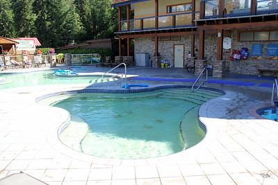 The hot tub with cold plunge pool to the right and warm pool to the left