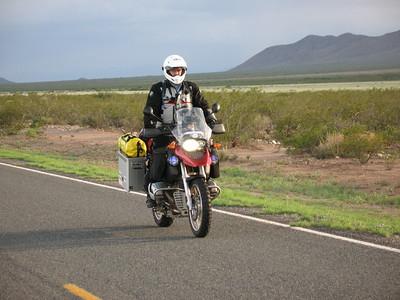 David rolls north, beginning the ride.