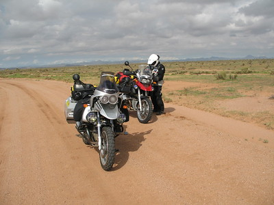 A brief stop to adjust air pressures down for more traction on the sandy roads of southern New Mexico