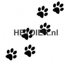 Honden poten sticker 4 cm, 8 sets van € 2,50 =  € 20,00 gekocht bij, zie http://www.hetdier.nl