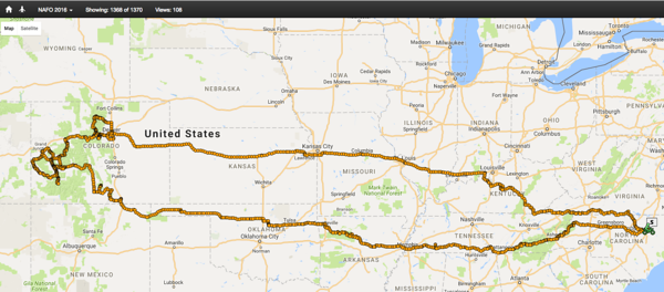 The route of the entire trip. The southern leg was out to Colorado and the northern leg back to North Carolina.