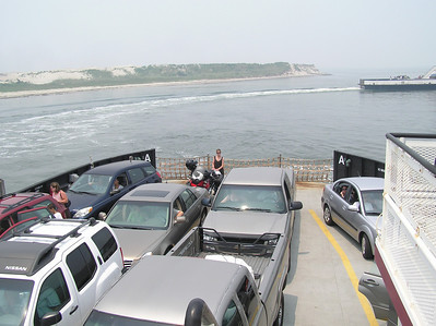 Jackie met me in NC.  We did a day ride from Nags Head NC to Okracoke island.  This was the ferry ride to the island.